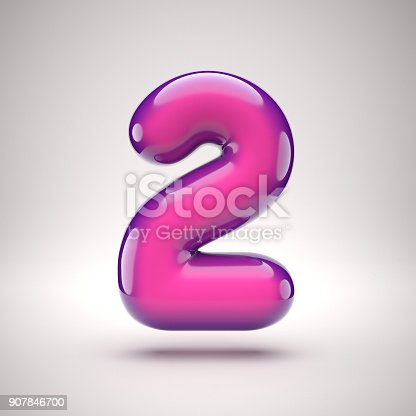 907846872istockphoto Round pink glossy font 3d rendering number 2 907846700