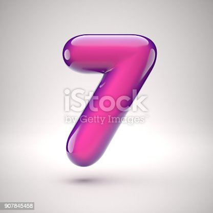 907846872istockphoto Round pink glossy font 3d rendering number 7 907845458