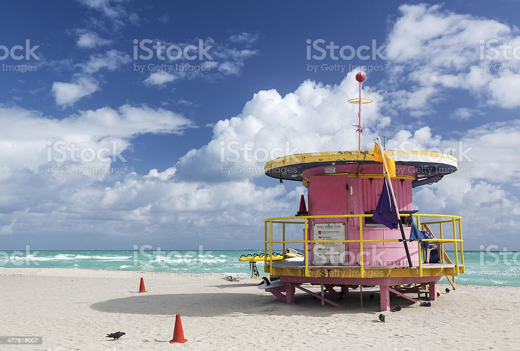 Round pink lifeguard station on Miami beach royalty-free stock photo