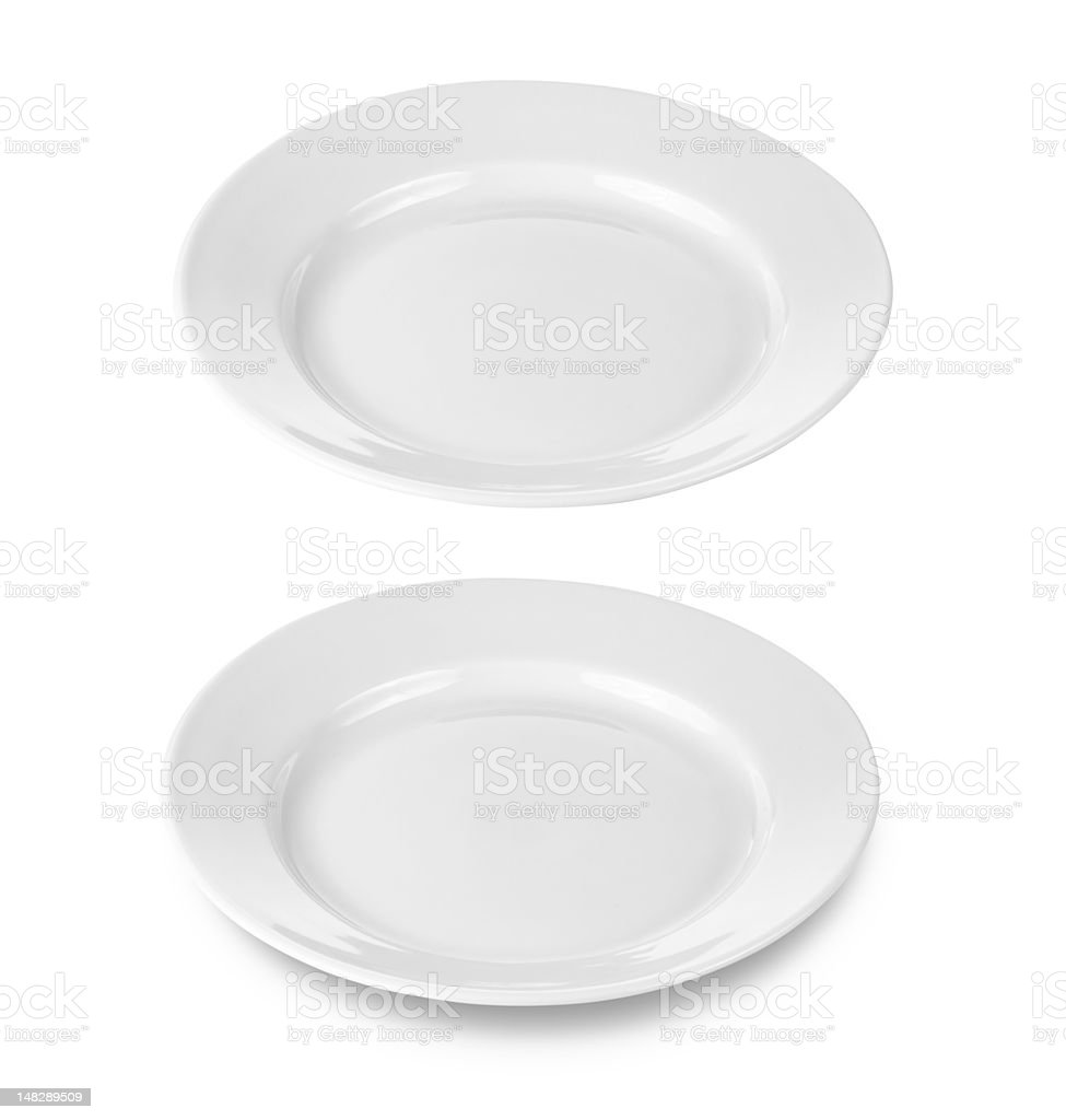 round plate isolated on white with clipping path includ royalty-free stock photo