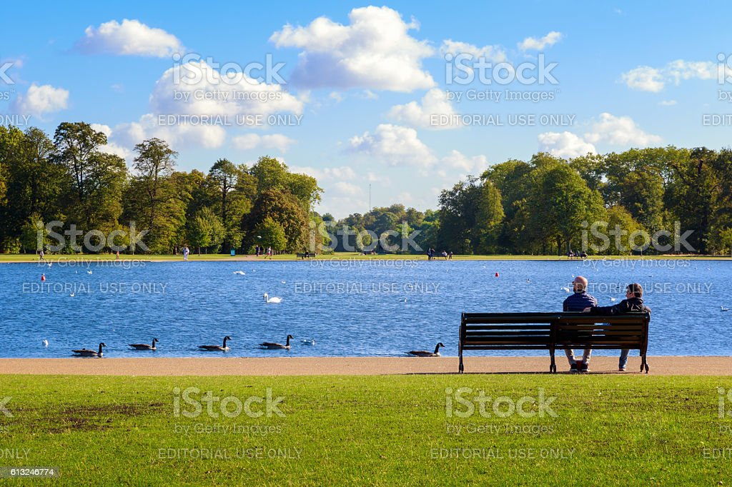 Round Pond in Hyde Park stock photo
