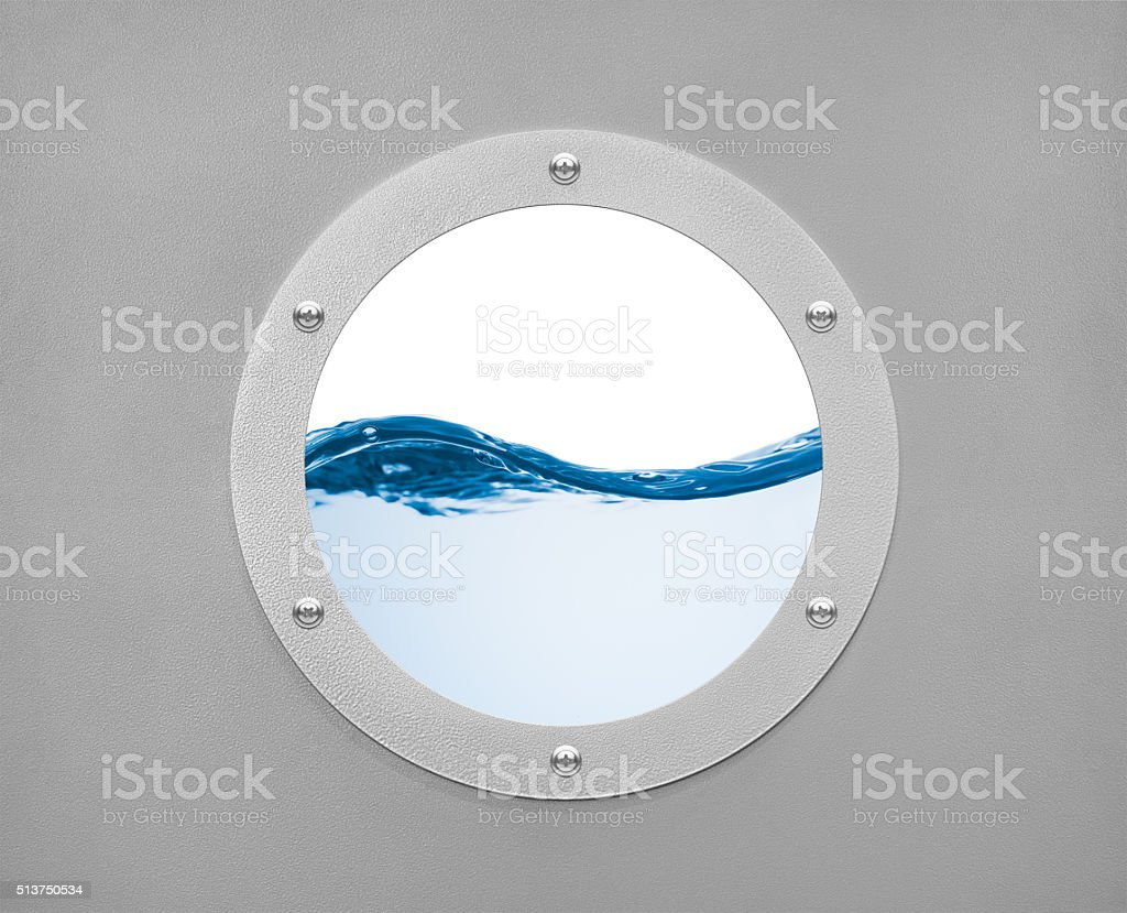 round porthole and sea wave with white field stock photo