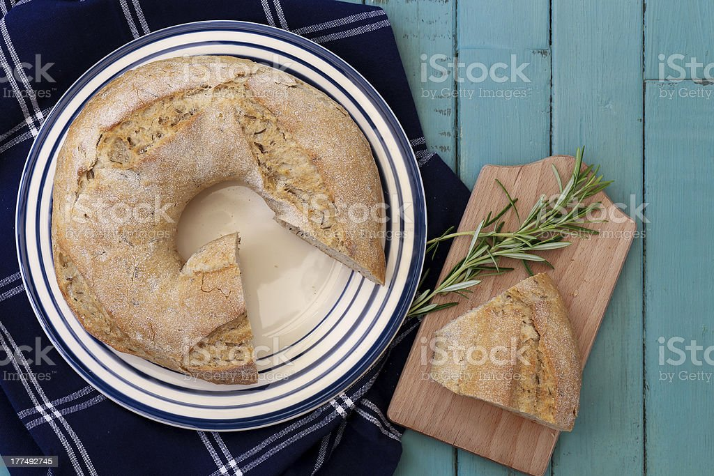 Round Potato Rosemary Bread With Hole royalty-free stock photo