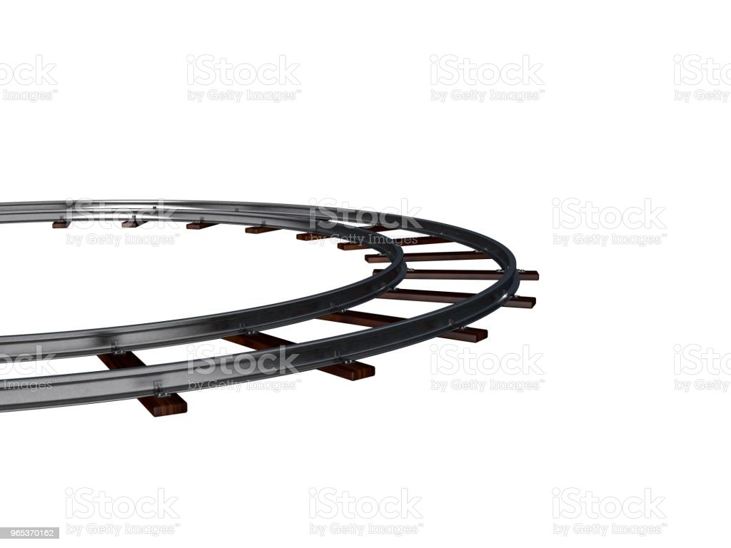 Round railway track. Isolated on white. 3D rendering illustration. royalty-free stock photo