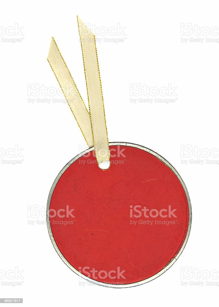 Round Red Tag with Ribbon royalty-free stock photo