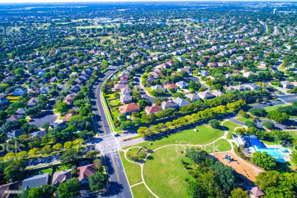 Rock, Texas, USA Luftbild Drohne Rundblick hoch über Vorort Nachbarschaft Park Homes – Foto