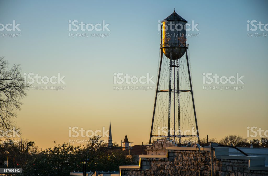Round Rock Water Tower during Sunset Golden Hour stock photo