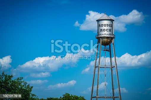 On a nice sunny afternoon in small town north of Austin , Texas - Round Rock , TX , USA - Water Tower