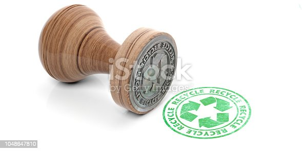 istock Round rubber stamper and green stamp with text recycle isolated on white background. 3d illustration 1048647810