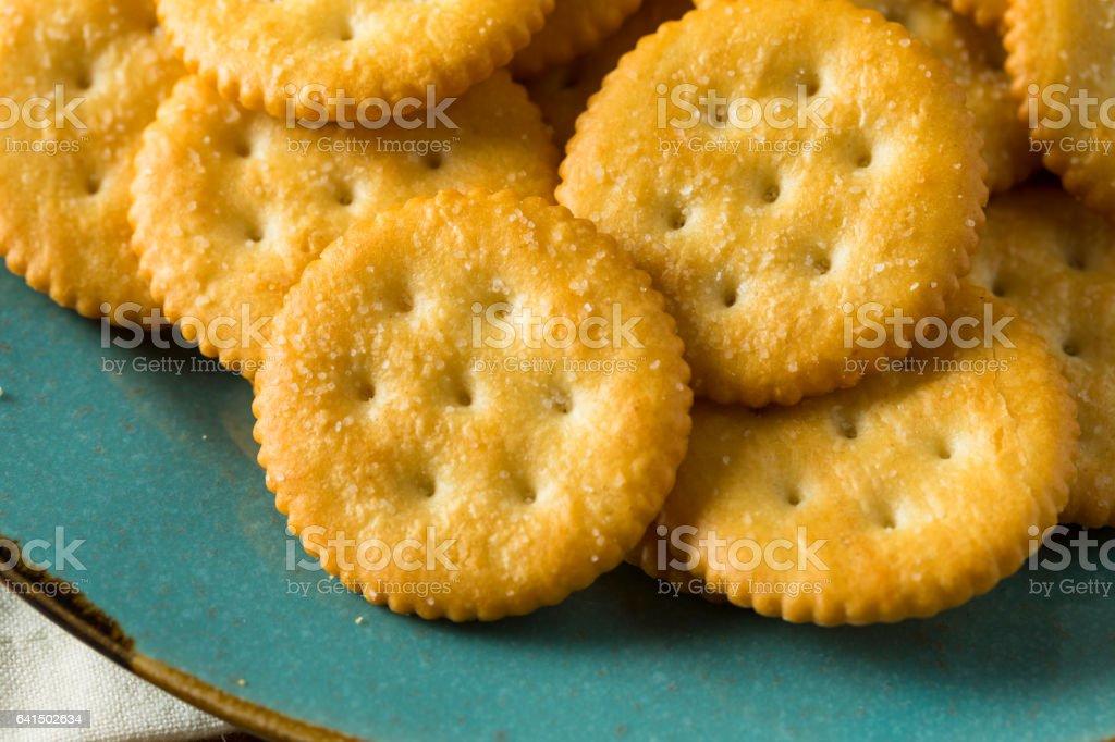 Round Salty Yellow Crackers stock photo