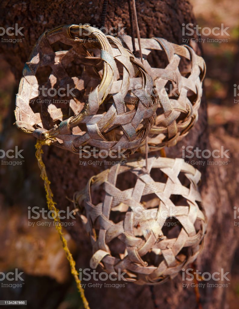 Round shape bamboo made cow musks stock photo