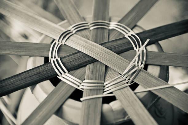Round shape bamboo made object unique photo stock photo