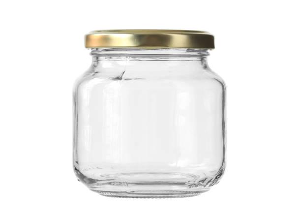 흰색 배경 클리핑 경로에 고립 된 둥근 모양 유리 용기 - 뚜껑 뉴스 사진 이미지