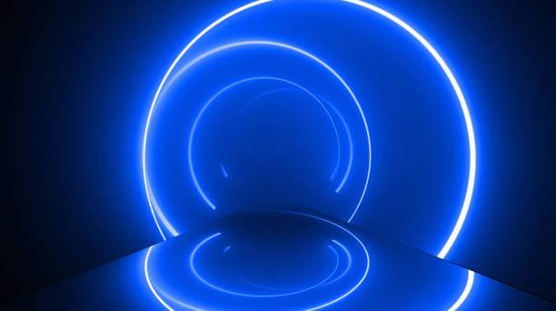 forme ronde, fond abstrait de lumières de néon rougeoyantes - dance music photos et images de collection