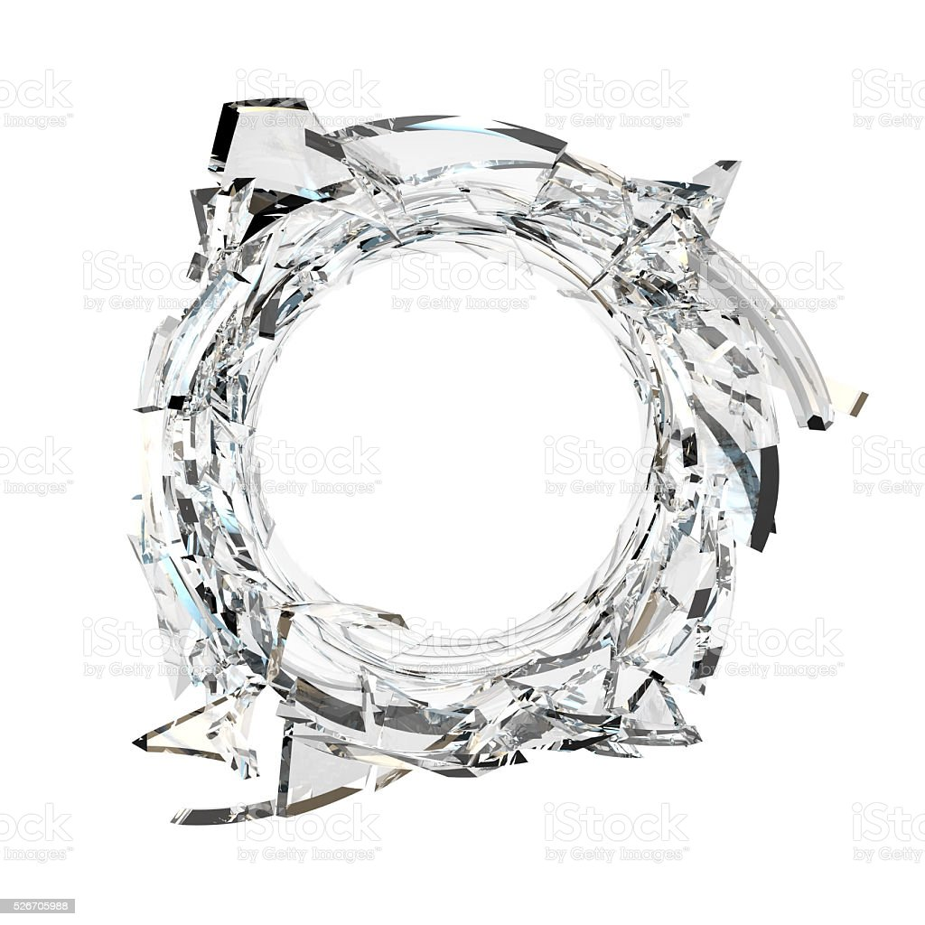 Round shape made of shattered glass stock photo