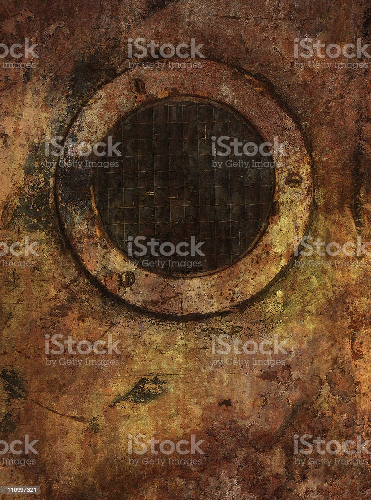 round shaped grunge window royalty-free stock photo