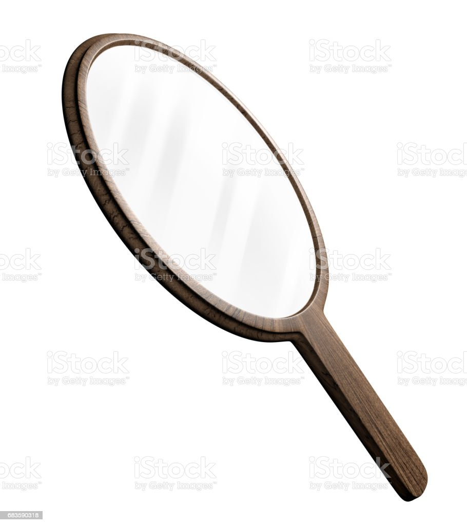Round shaped old-fashioned wooden hand mirror for personal grooming, 3D rendering stock photo
