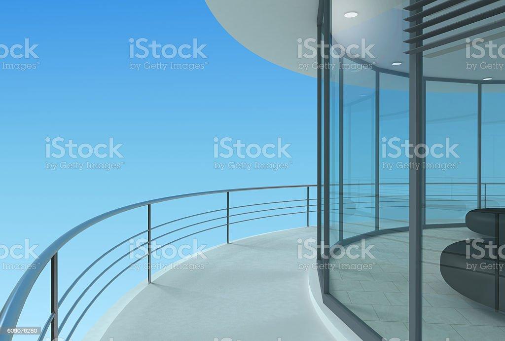 Round skyscraper terrace stock photo