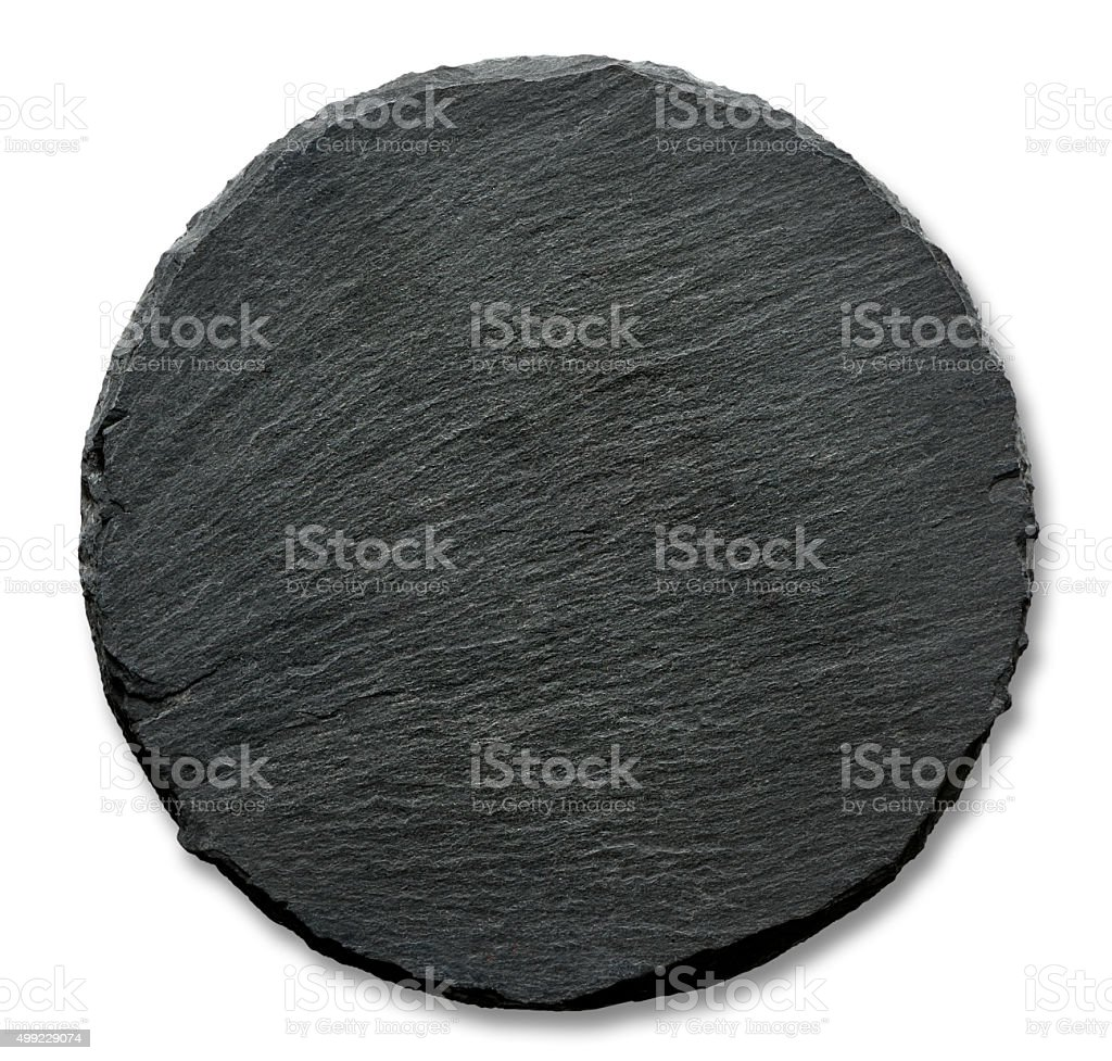 Round slate stand stock photo