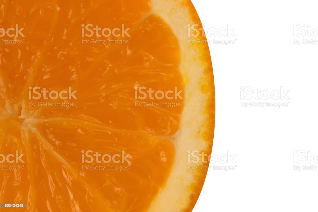 Round slice of orange on white background and free space for text zbiór zdjęć royalty-free