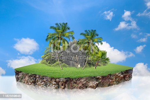 istock round soil ground cross section with earth land and green grass. 1182559845