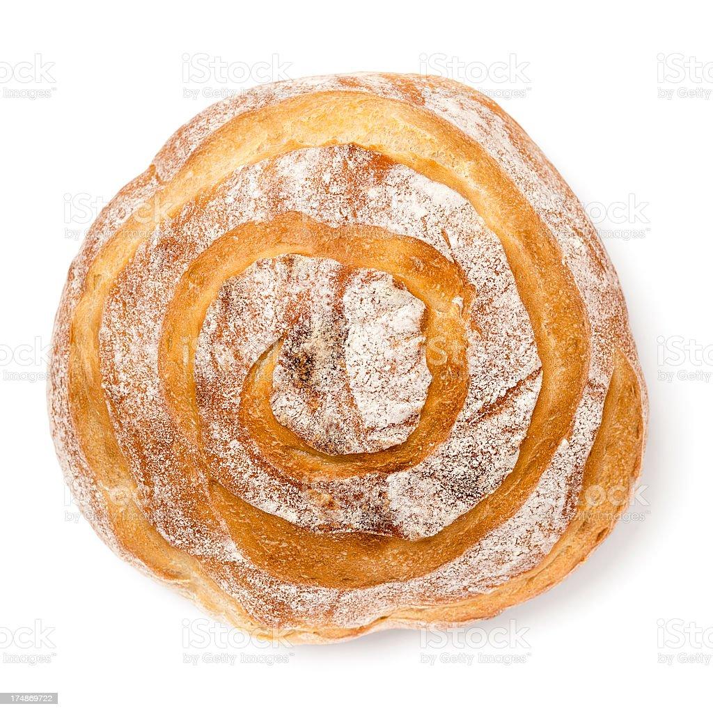 Round sourdough loaf on white stock photo