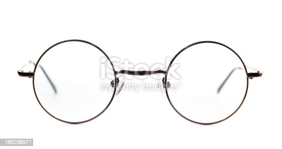 Circular-frame metal frame prescription glasses.