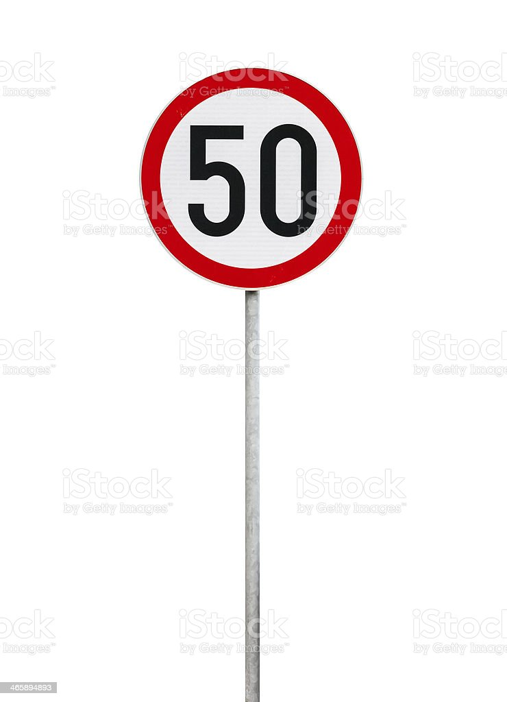 Round speed limit road sign isolated on white stock photo