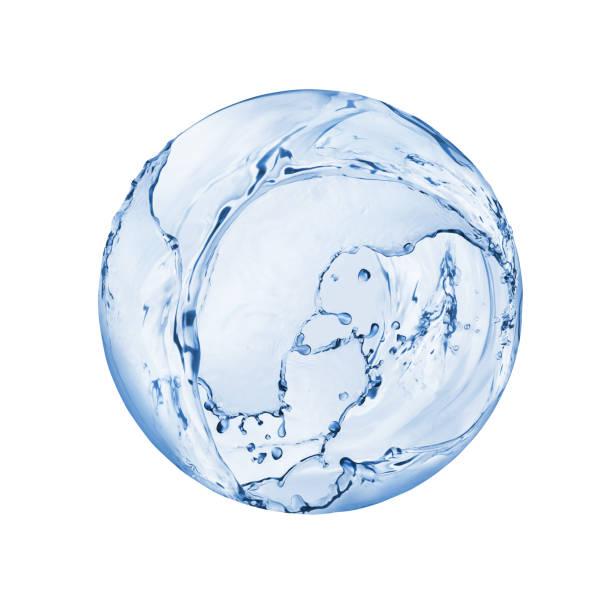 水の丸球はねに孤立した白い背景 ストックフォト