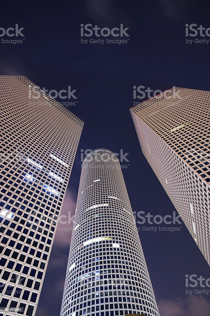 Round, square and triangular skyscrapers royalty-free stock photo