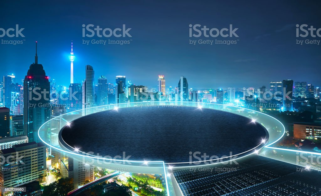 Round stage floating on the center of city skyline with urban skyscrapers at sunset. Mixed media . stock photo