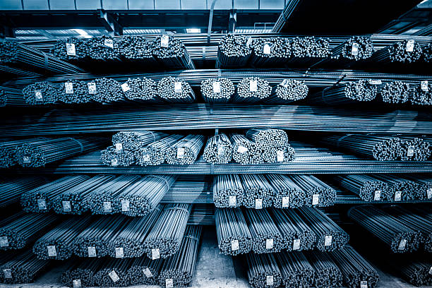 round steel bars round steel bars at factory , adobe rgb 1998 use. rod stock pictures, royalty-free photos & images