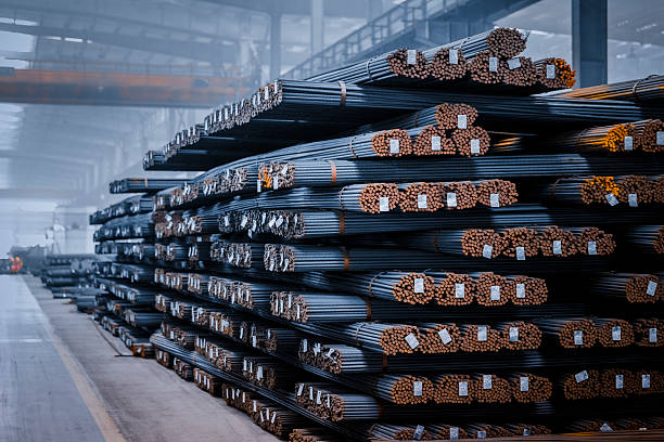round steel bars round steel bars at factory , adobe rgb 1998 use........... rod stock pictures, royalty-free photos & images