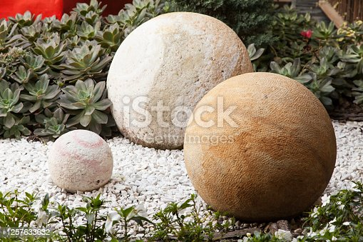 Round stones different sizes and colors decorating the garden.