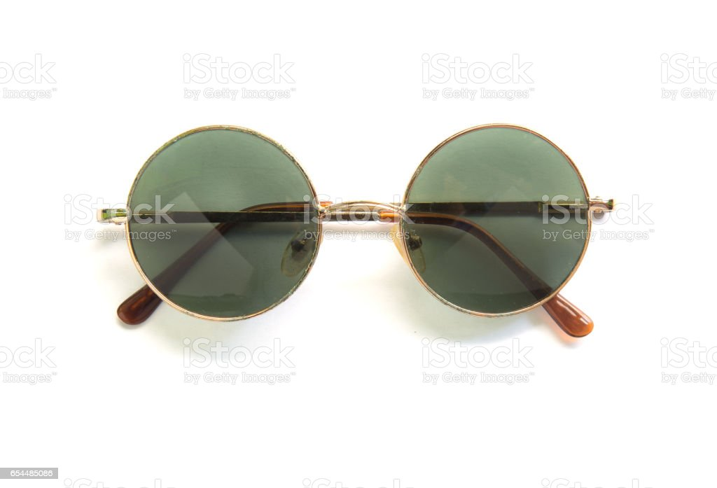 Round sunglasses isolated on white background stock photo