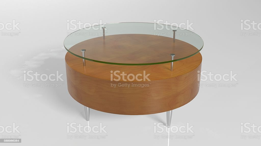 Round table, furniture piece made of glass and wood stock photo