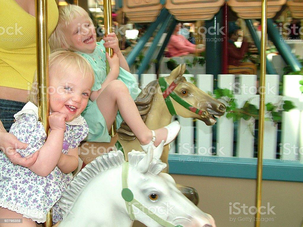 Round the carousel fun royalty-free stock photo