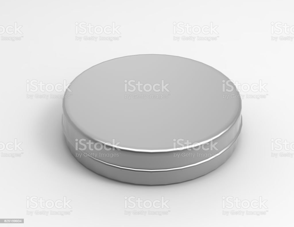 Round thin aluminium container with lid and blank shoe polish box isolated on a white background. 3D render illustration. stock photo