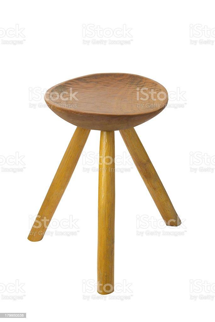 round top maka wood stool isolated stock photo