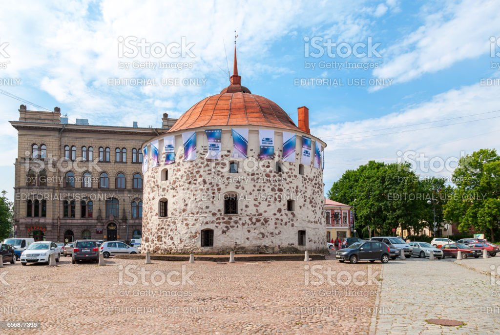 Round Tower in the market square of the old town in Vyborg, Russia stock photo