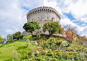 London, UK - April 2019: Round Tower of Windsor Castle