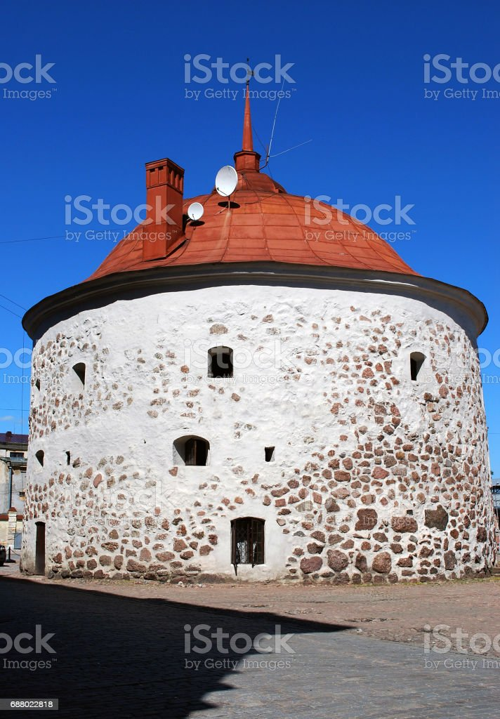 Round Tower on the Market Square in the old medieval part of Vyborg stock photo