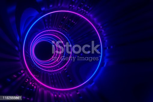 973972612istockphoto Round tunnel with reflective walls and neon circle illumination 3D Illustration 1152555861