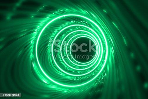 905332472istockphoto Round tunnel with reflective walls and neon circle illumination 3D Illustration 1198173409