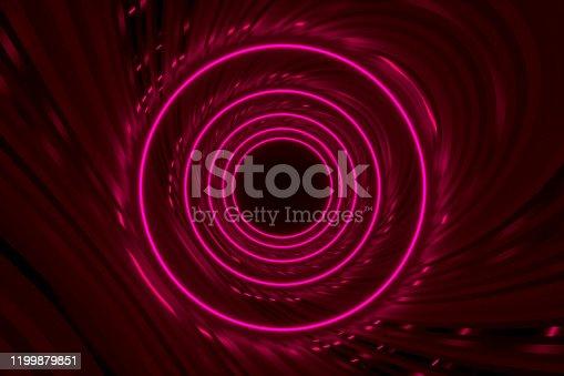 973972612 istock photo Round tunnel with reflective walls and neon circle illumination 3D Illustration 1199879851