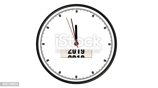 istock round wall clock year change from 2018 to 2019 - isolated on white 656169634