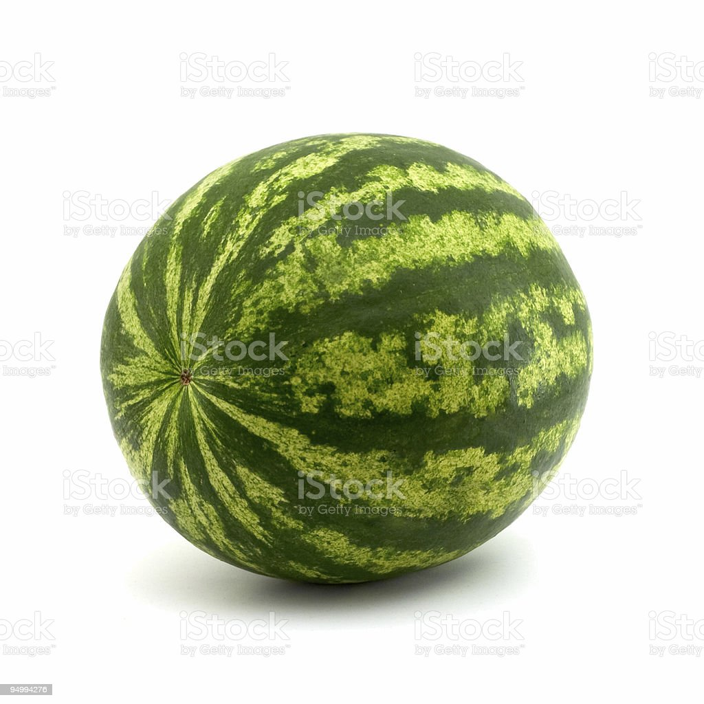 Round watermelon isolated on white background royalty-free stock photo