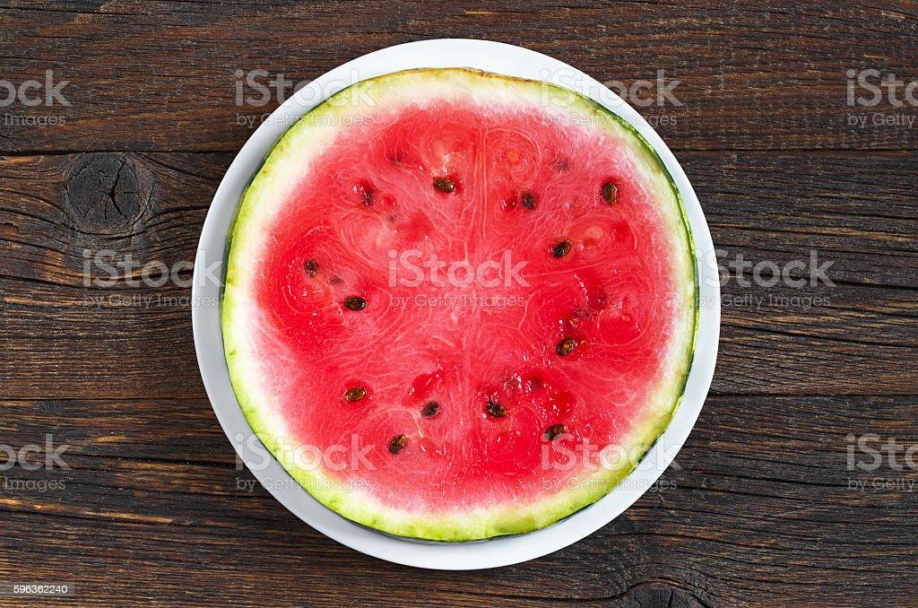 Round watermelon slice royalty-free stock photo