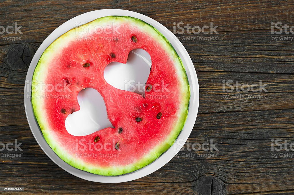 Round watermelon slice royalty-free stock photo