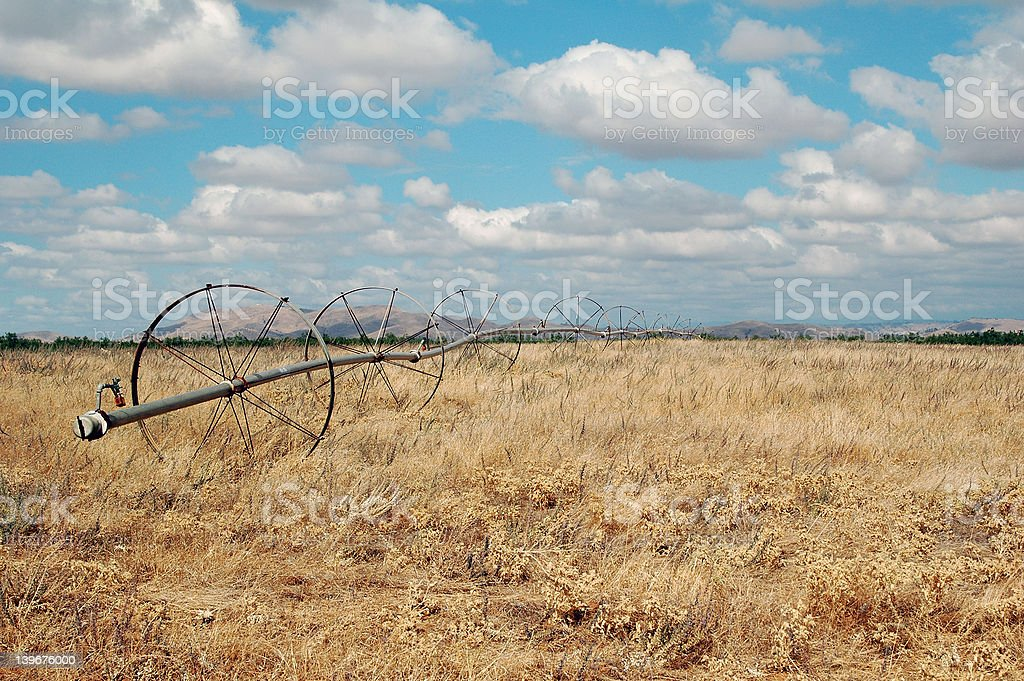 Round Wheels in Field stock photo